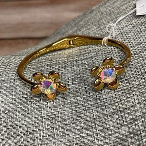 """Kate Spade NWT """"Sunset Blooms"""" Gold Hinged Cuff"""